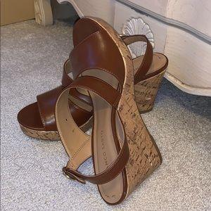 FRANCO SARTO Brown Leather Wedges, EUC! Worn 3x!